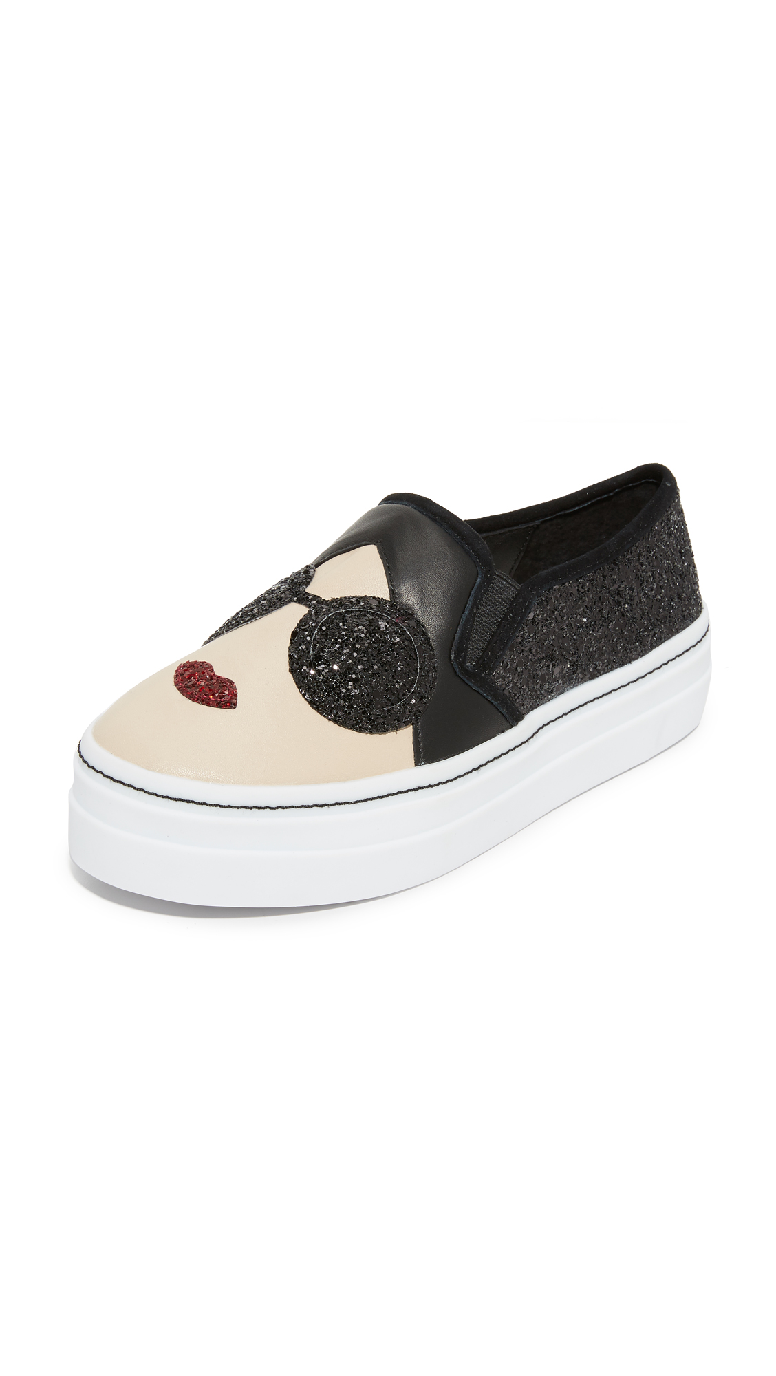 Alice + Olivia Stace Sofia Slip On Sneakers - Black Glitter at Shopbop