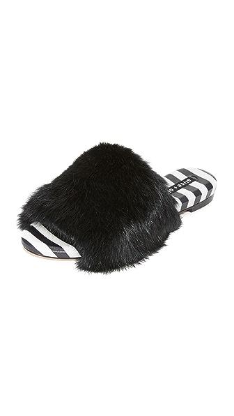 alice + olivia Ramona Fur Slides - Black