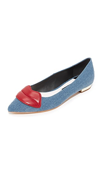 alice + olivia Kaylee Lips Flats - Blue Denim