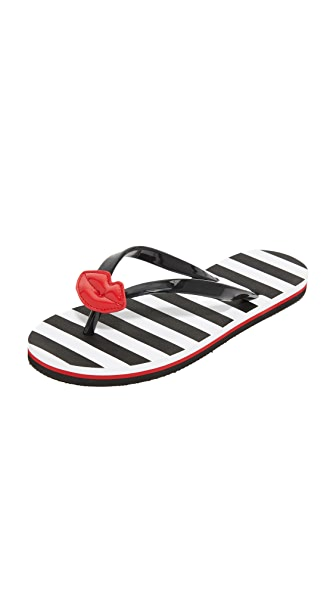 alice + olivia Carly Lips Flip Flops - Black