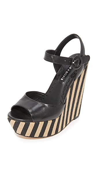 alice + olivia Laura Wedges - Black