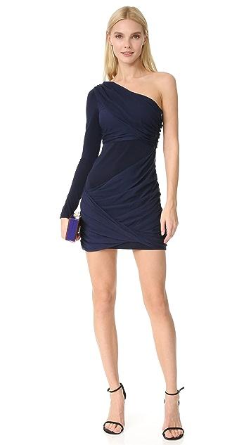 alice + olivia Crissy Wrap One Sleeve Goddess Dress