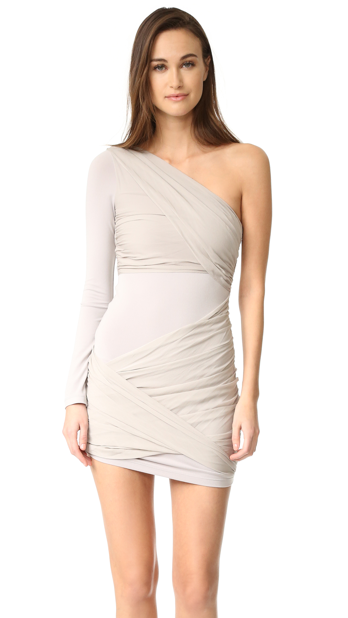 Alice + Olivia Crissy Wrap One Sleeve Goddess Dress - Light Grey