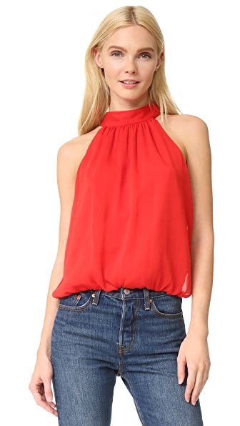 alice + olivia Maris Gathered Halter Top - Poppy