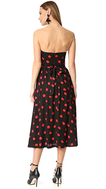 alice + olivia Belva Strapless Midi Dress