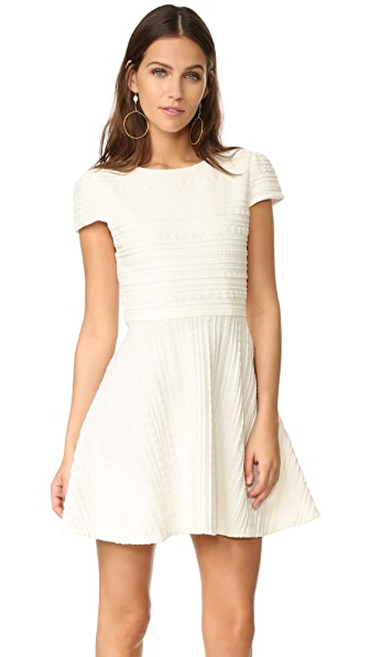 alice + olivia Shane Cap Sleeve A-Line Dress