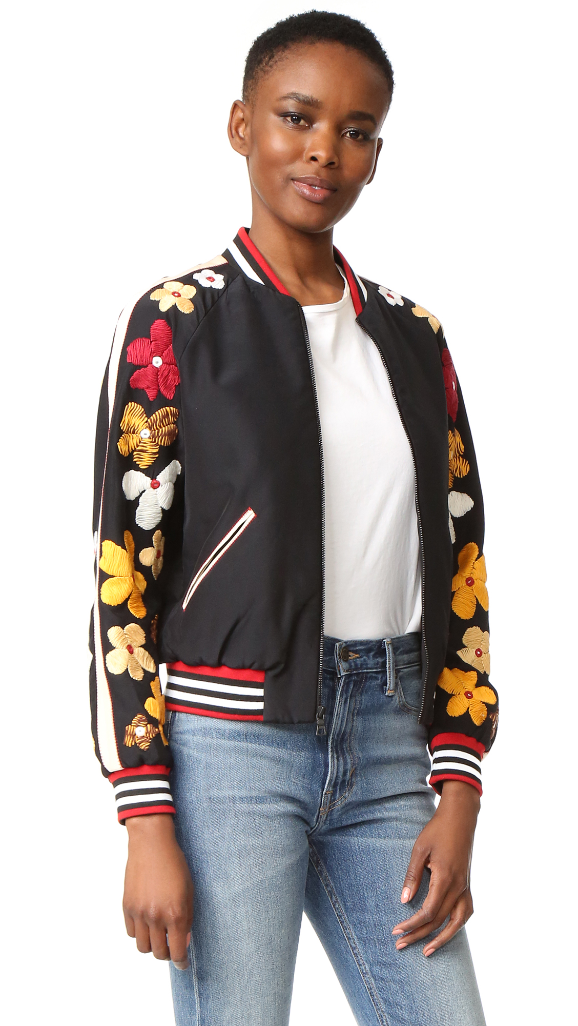 Alice + Olivia Tony Embellished Sleeve Cropped Bomber - Black Multi at Shopbop