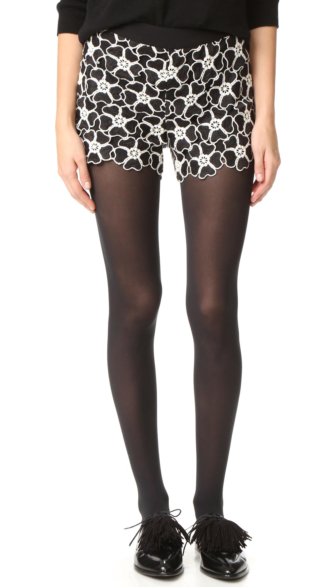 Alice + Olivia Amaris High Waisted Lace Shorts - Black/White at Shopbop