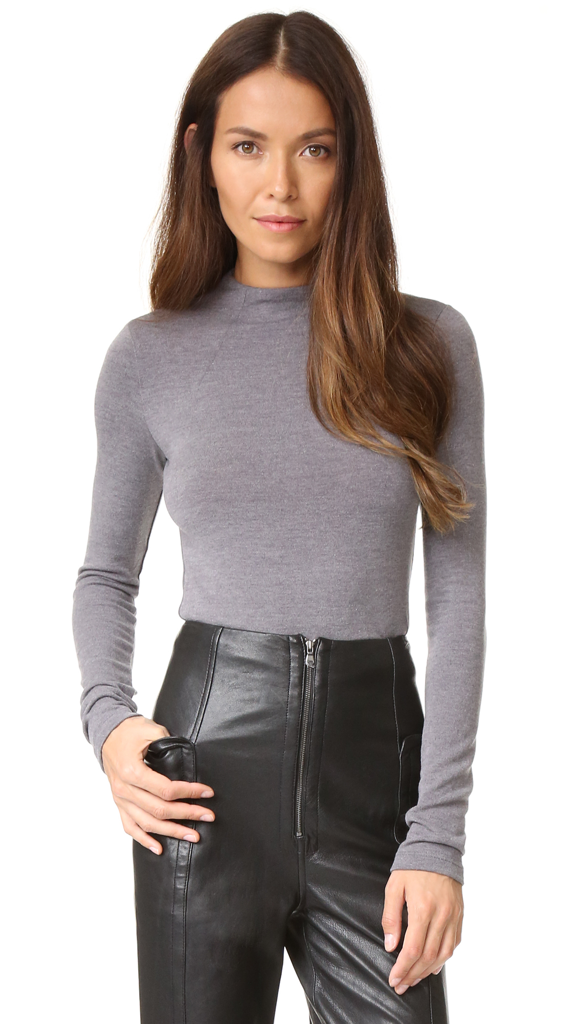 alice + olivia Genova Fitted Sweater - Heather Grey Melange