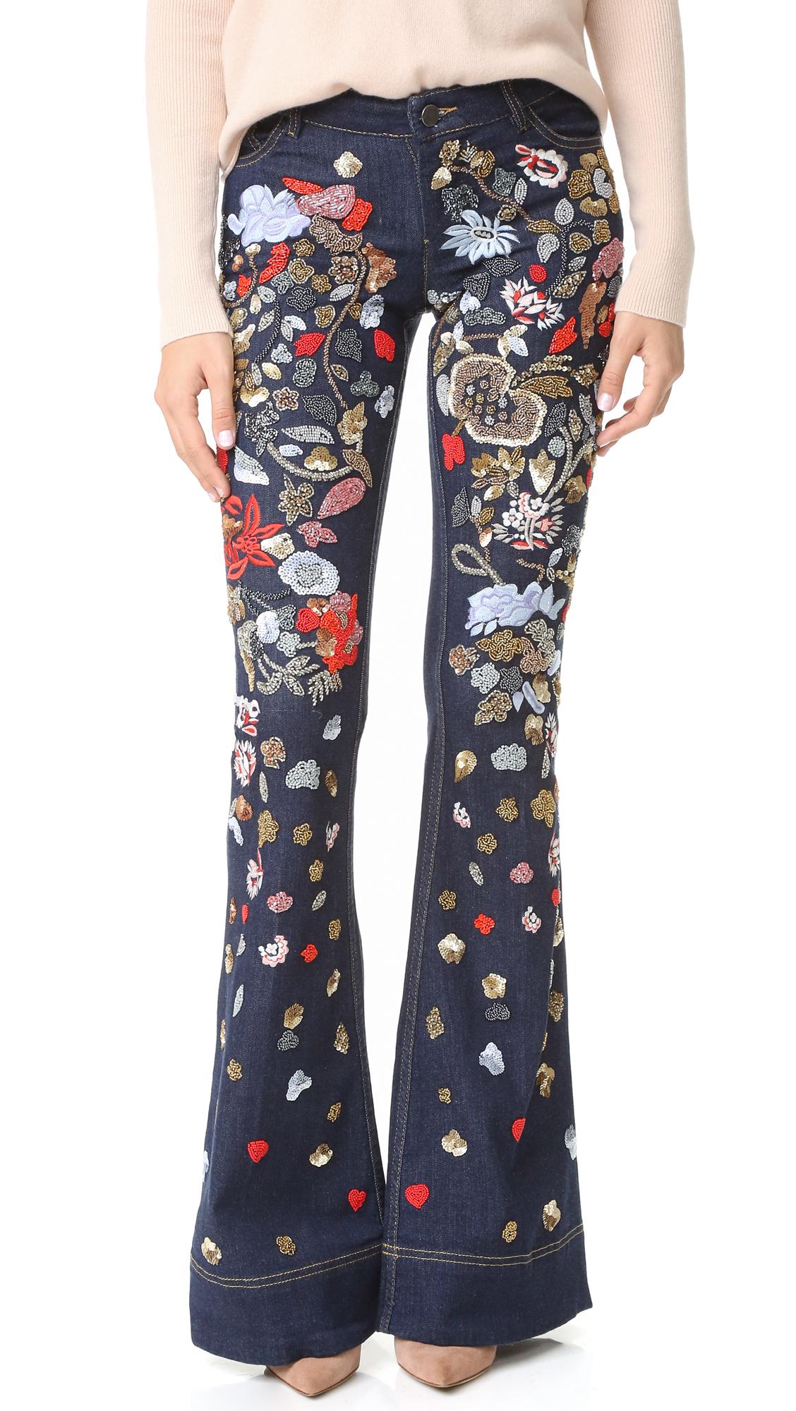 Alice + Olivia Ryley Embellished Low Rise Bell Jeans - Dark Indigo/Multi at Shopbop