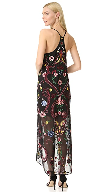 alice + olivia Jameson Embroidered Y Back Dress