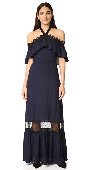 alice + olivia Mitsy Off Shoulder Halter Dress - Indigo/Black