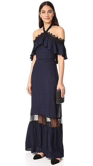 alice + olivia Mitsy Off Shoulder Halter Dress