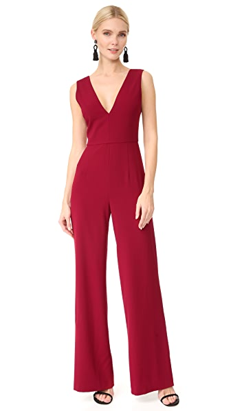 alice + olivia Lina Double V Neck Jumpsuit - Bright Bordeaux