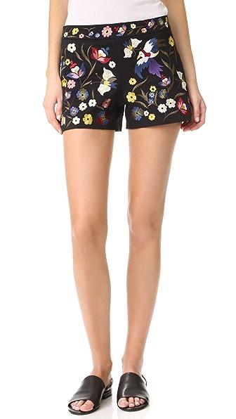 alice + olivia Marisa Embroidered Shorts