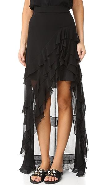 alice + olivia Асимметричная юбка Lavera с многослойными оборками