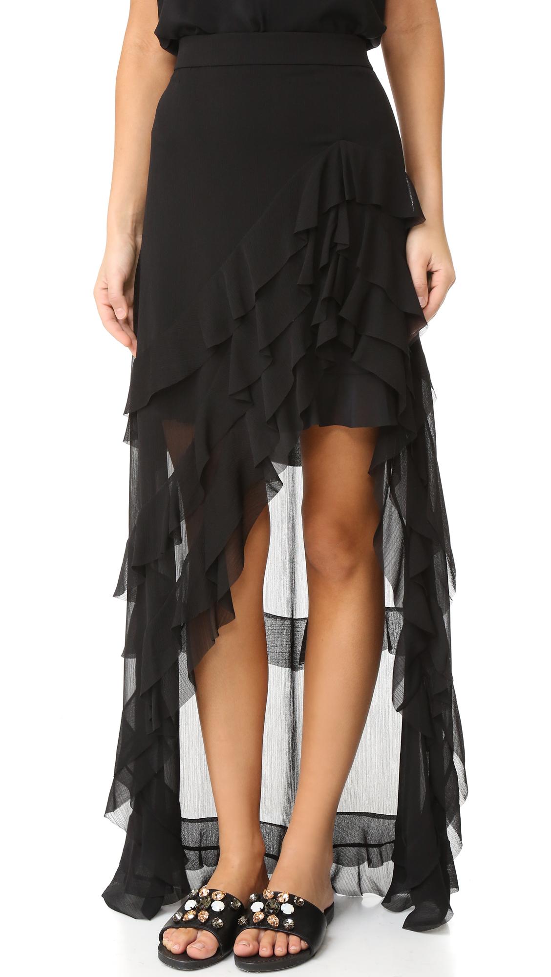 Alice + Olivia Lavera Asymmetrical Layered Ruffle Skirt - Black at Shopbop