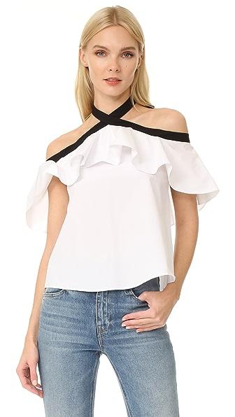 alice + olivia Alyssa Off Shoulder Halter Blouse - White/Black