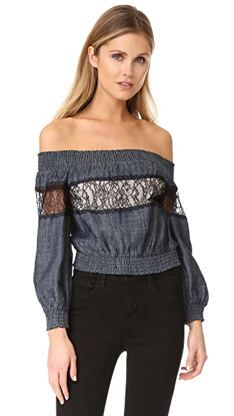 alice + olivia Celia Off The Shoulder Top - Chambray/Black