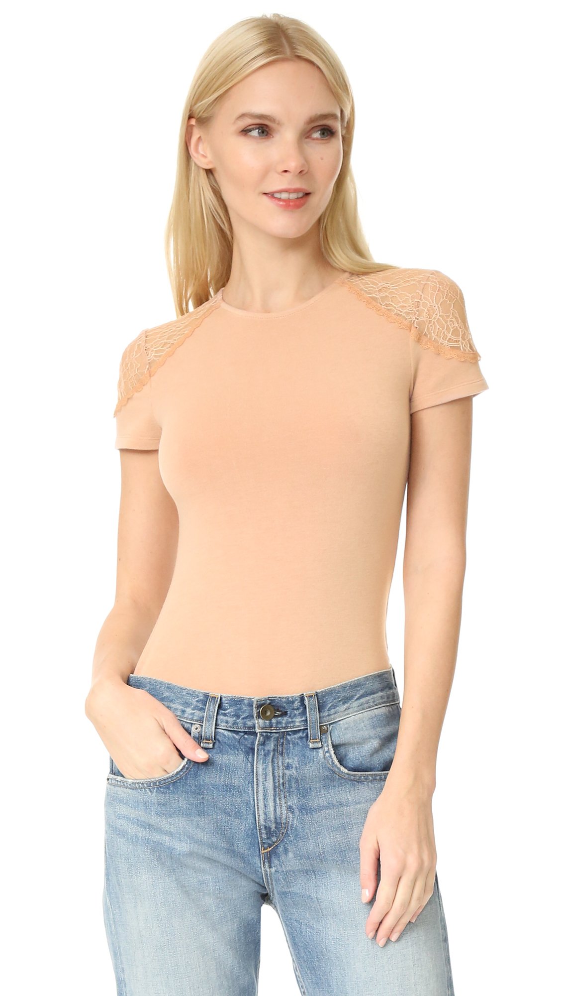 Alice + Olivia Lux Lace Shoulder Top - Dusty Pink at Shopbop