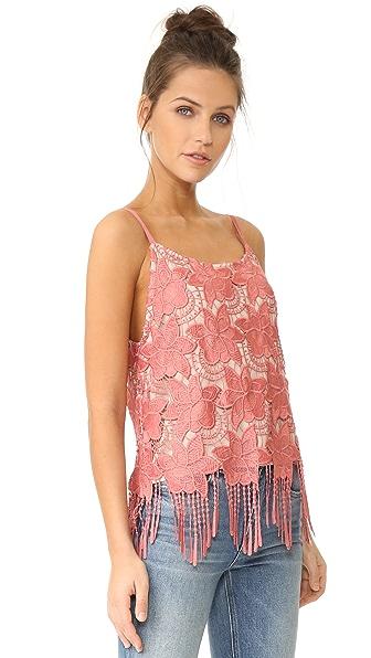 ALICE AND OLIVIA 'Waverly' Fringe Hem Floral Lace Camisole