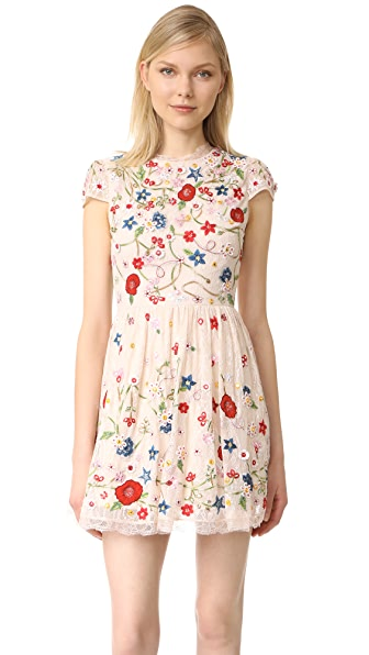 alice + olivia Ariel Embroidered Cap Sleeve Dress at Shopbop