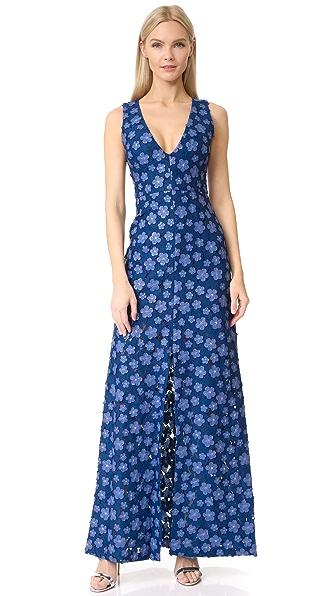alice + olivia Faustina Front Slit Maxi Dress - Blue Multi