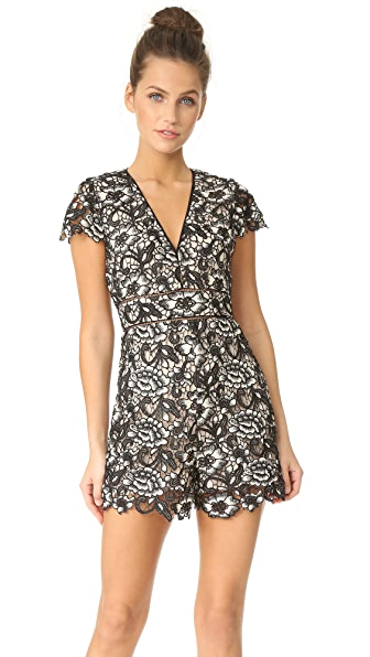 alice + olivia Tinsley Deep V Neck Romper