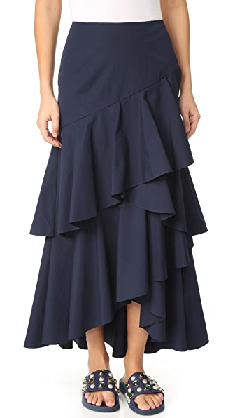 alice + olivia Martina Asymmetrical High Low Ruffle Skirt