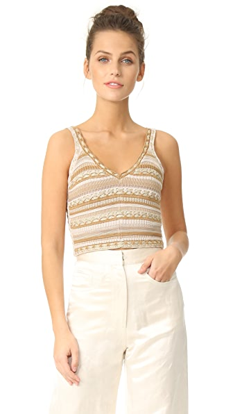 alice + olivia Sandrine Crochet Cropped Tank - Natural/Gold