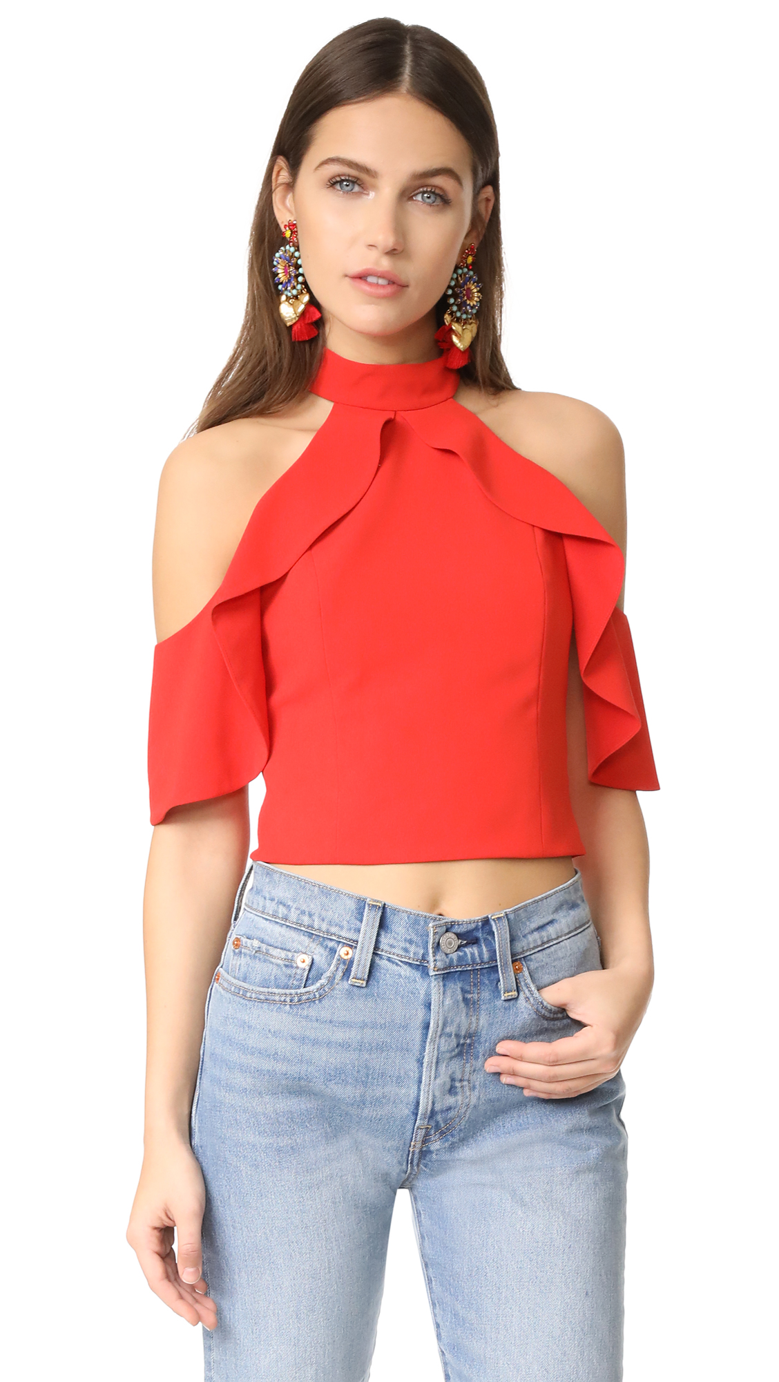 alice + olivia Cabot Cold Shoulder Ruffle Crop Top - Poppy
