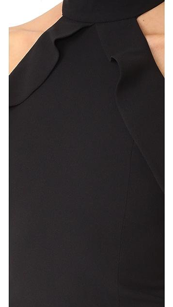 alice + olivia Cabot Cold Shoulder Ruffle Crop Top