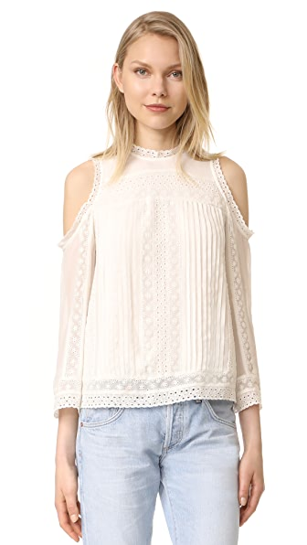 alice + olivia Ofelia Embroidered Cold Shoulder Blouse - Off White
