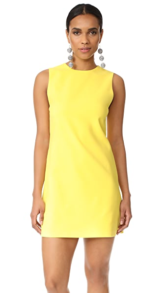alice + olivia Coley Crew Neck A-Line Dress - Lemon