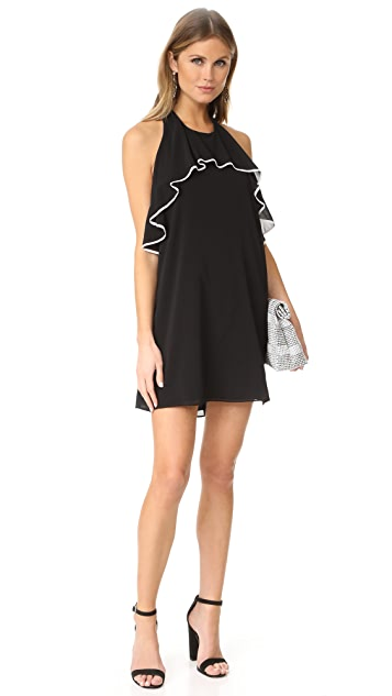 alice + olivia Gwenie Halter Ruffle Dress
