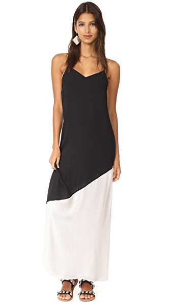 alice + olivia Maggie Paneled Maxi Slip Dress - Black