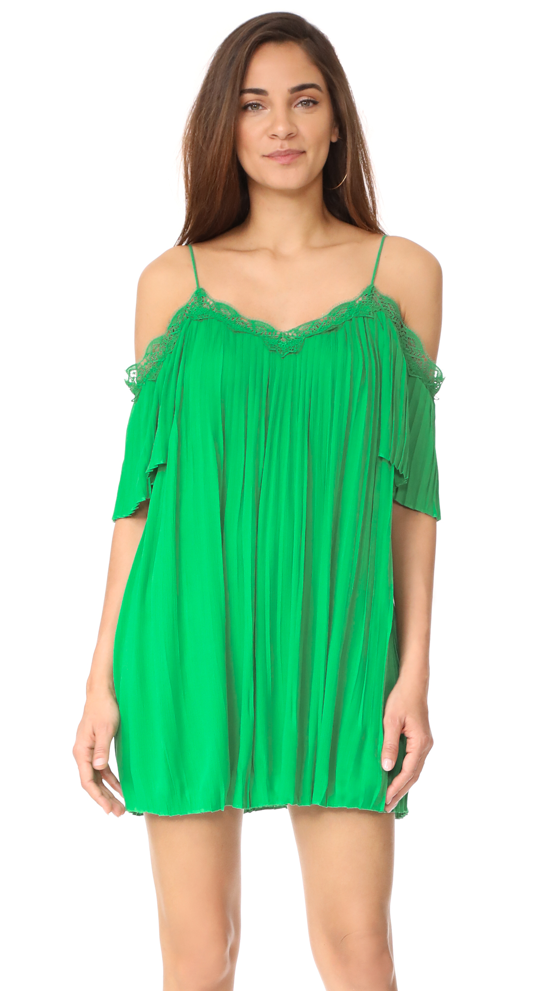 alice + olivia Mimi Cold Shoulder Pleated Dress - Kelly Green