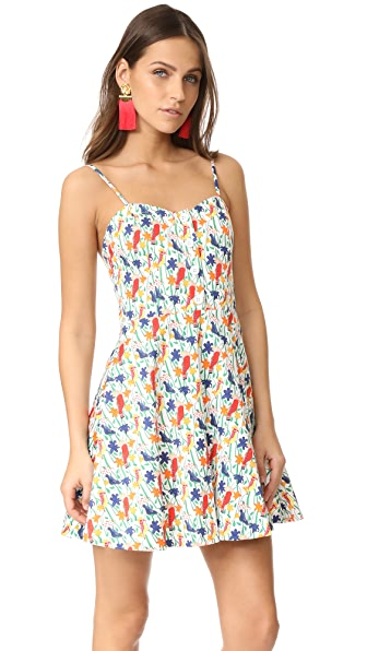 alice + olivia Nella Button Front Dress In Bird Party