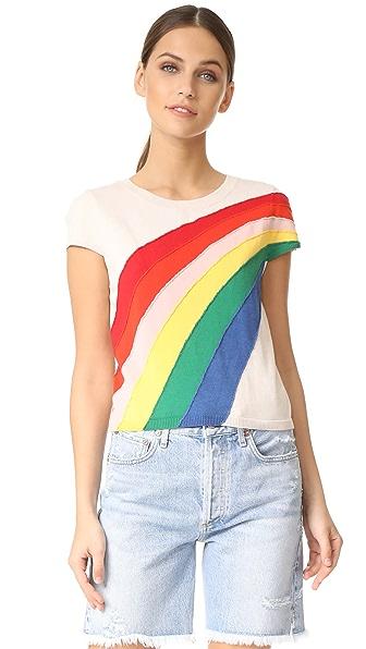 alice + olivia Ester Rainbow Pullover In Natural/Multi