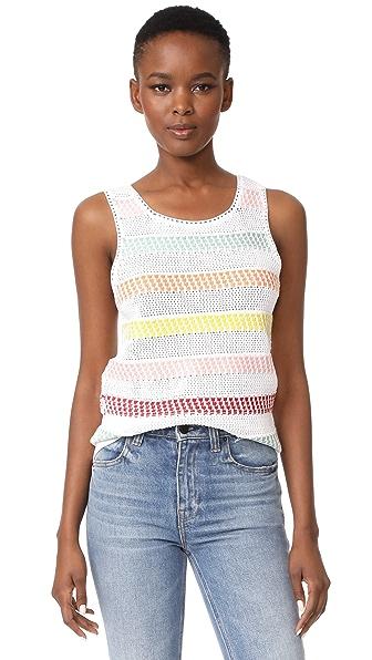 alice + olivia Trinity Textured Stripe Shell - White/Multi
