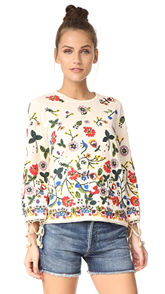 alice + olivia Lenora Embroidered Bell Sleeve Tunic