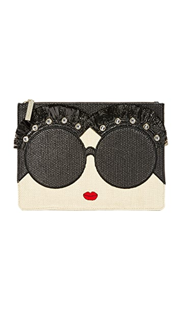 alice + olivia Stace Face Embellished Large Zip Pouch