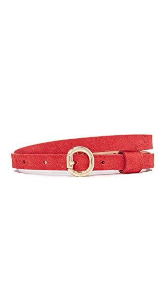 alice + olivia Danny Suede Simple Belt - Poppy