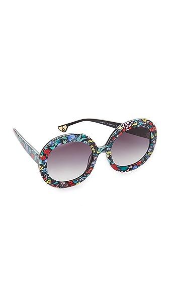 alice + olivia Melrose Sunglasses - Chelsea Print/Grey