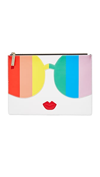 alice + olivia Rainbow Stacey Face Pouch - Multi