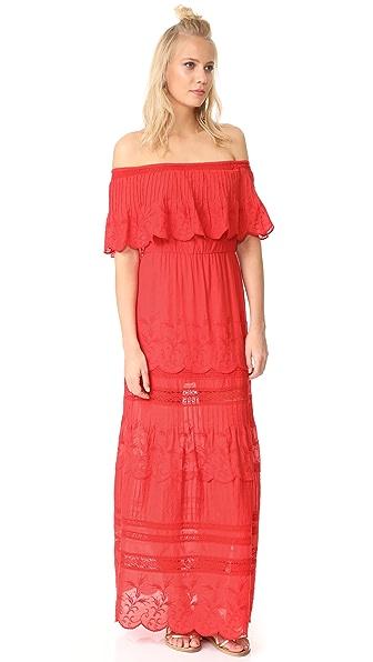 alice + olivia Pansy Embroidered Off Shoulder Boho Dress