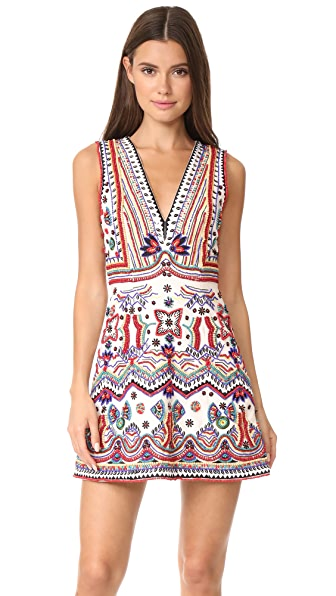 alice + olivia Patty Embellished Seamed A-Line Dress online sales