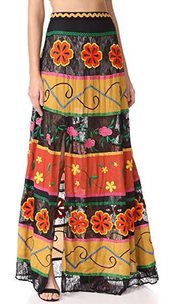 alice + olivia Athena Embroidered Maxi Skirt In Black/Multi