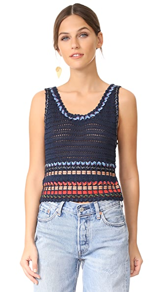 alice + olivia Dorian Ribbon Weaved Tank In Indigo/Multi