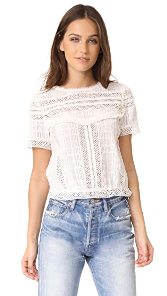 alice + olivia Belia Lace Insert Fringe Top In Off White